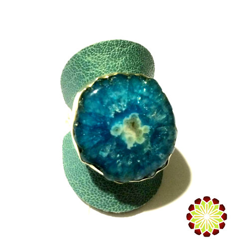 Blue Druzy Galaxy Ring