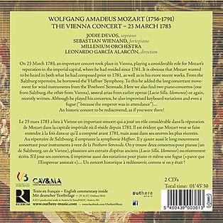 CD MOZART THE VIENNA CONCERT 23 MARCH 1783 Millenium Orchestra, Leonardo García Alarcón, Sebastian Wienand, Jodie Devos
