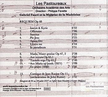 CD Fauré - Les Pastoreaux (back)