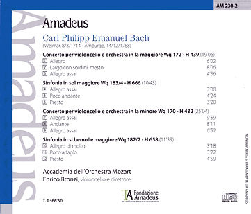 CD C.P.E.Bach - Enrico Bronzi - Accademia dell'Orchestra Mozart (back)