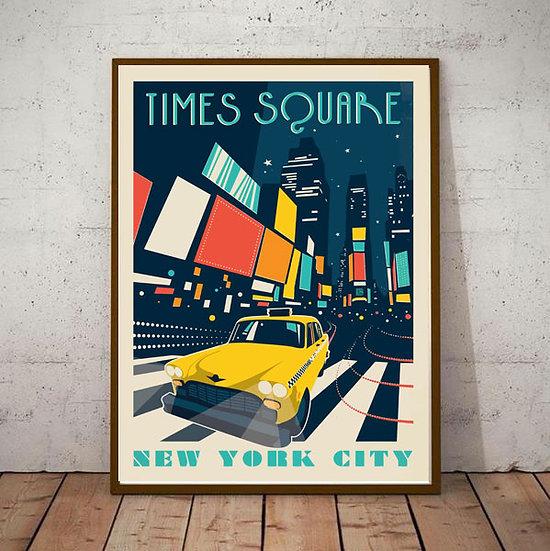 Art Deco Times Square New York City USA Travel Poster