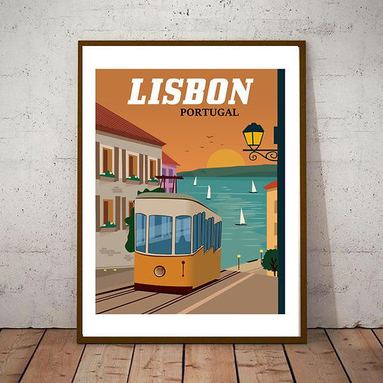Art Deco Lisbon Portugal  Travel Poster