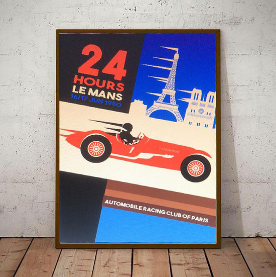Art Deco TopGear 24 Hrs of Le Mans Poster 1950