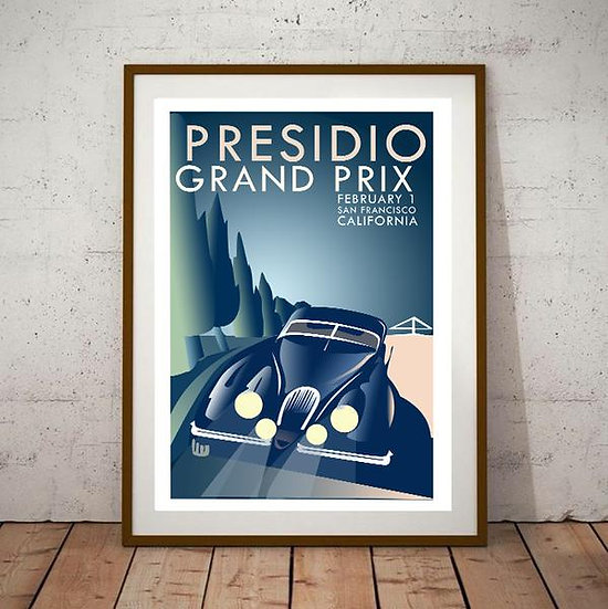 Art Deco Presidio Grand Prix California Jaguar XK150 Poster