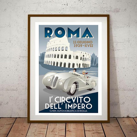 Art Deco Roma Italy 1939 BMW  Travel Poster