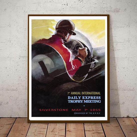 Art Deco Silverstone Daily Express Trophy Meeting 1955 Poster