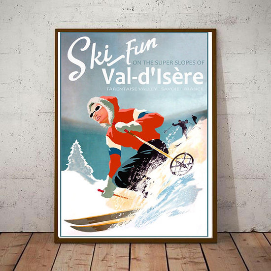 Art Deco Ski Fun on the Slopes of Val D'Isere Poster