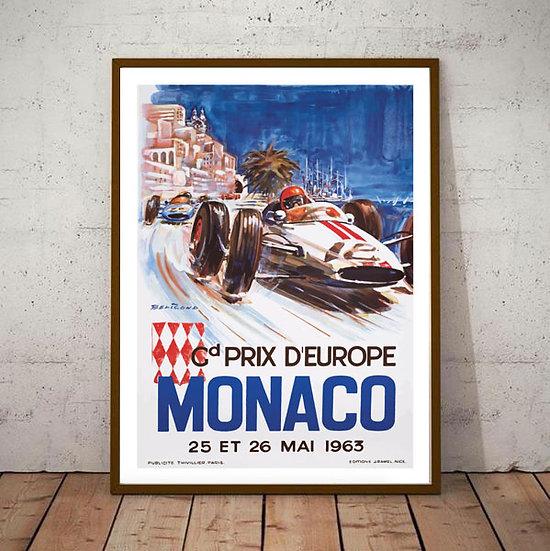 Art Deco Monaco 1963 Grand Prix Poster