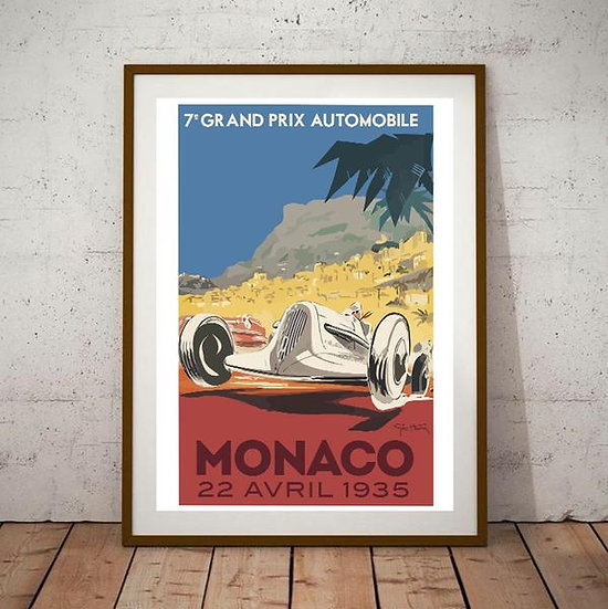 Art Deco Monaco 1935 Grand Prix Poster