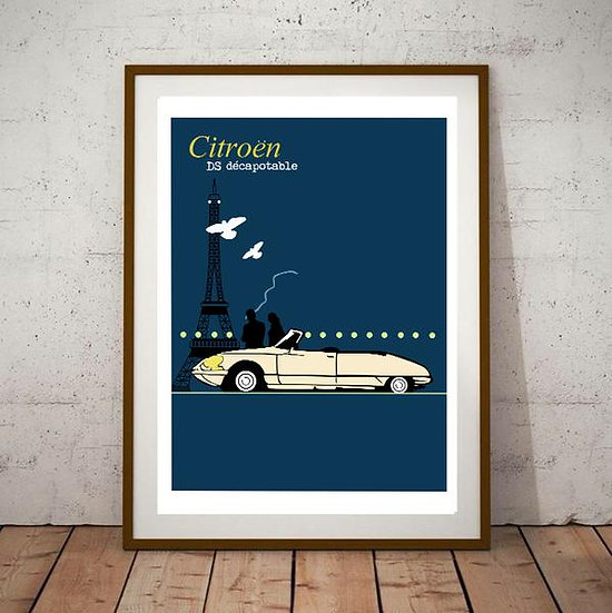 Art Deco Citroen DS19 Decapotable Poster