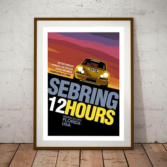 Art Deco Sebring 12 Hours Race Porsche 911 RSR Poster