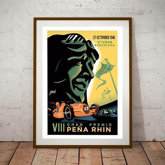 Art Deco Gran Premio Pena Rhin Barcelona 1946 Poster