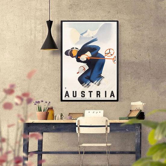 Art Deco Austria Winter Sports Ski Poster