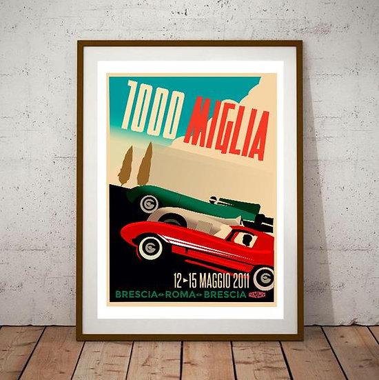 Art Deco 1000 Mille Miglia Jaguar E Type / C Type / D Type Poster