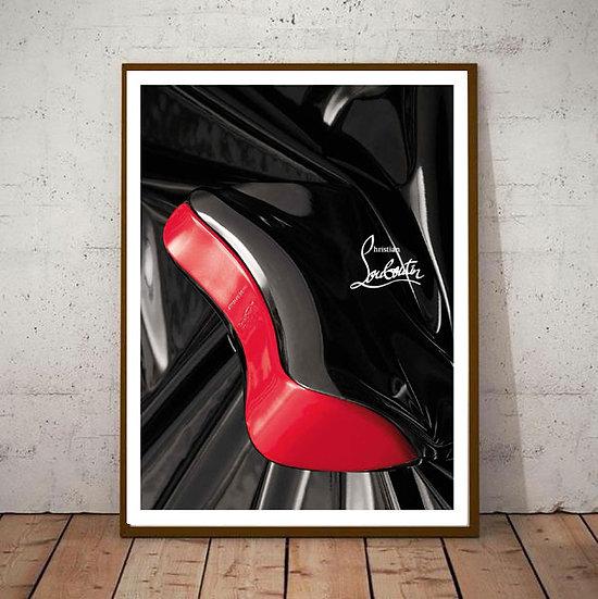 Inspiration Motivational Art - 'Christian Louboutin Red Heels' Black & White
