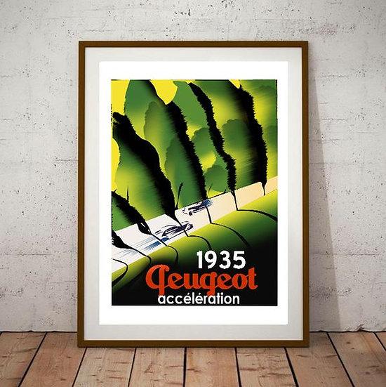 Art Deco Peugeot 1935 Acceleration Poster