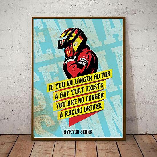 Art Deco Ayrton Senna 'A Gap that Exists' Quote  Poster