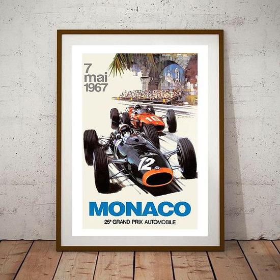 Art Deco Monaco 1967 Grand Prix Poster