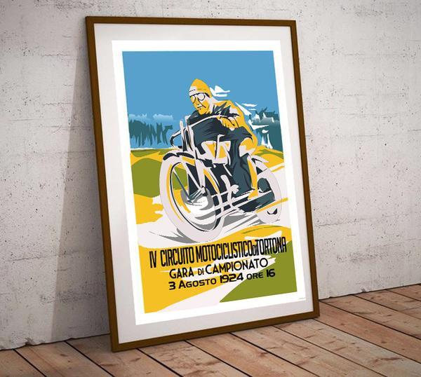 Art Deco Tortuna Motorcycle 1924 Poster
