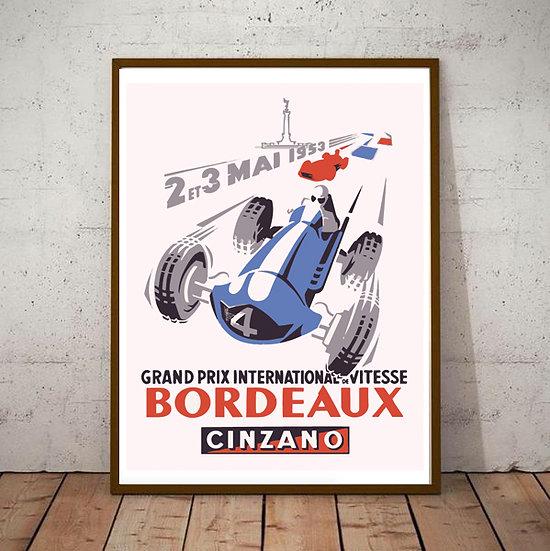 Art Deco Bordeaux Cinzano France Grand Prix Poster