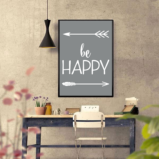 Set of 4 'BE' Art Deco Inspirational Poster in Grey