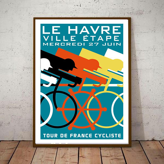 Art Deco Le Havre Tour De France Cycling Poster