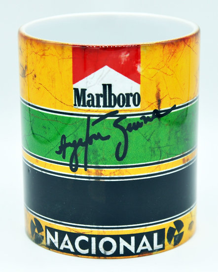 Ayrton Senna Nacional Marlboro Oil, Mud and Racing 11oz Mug