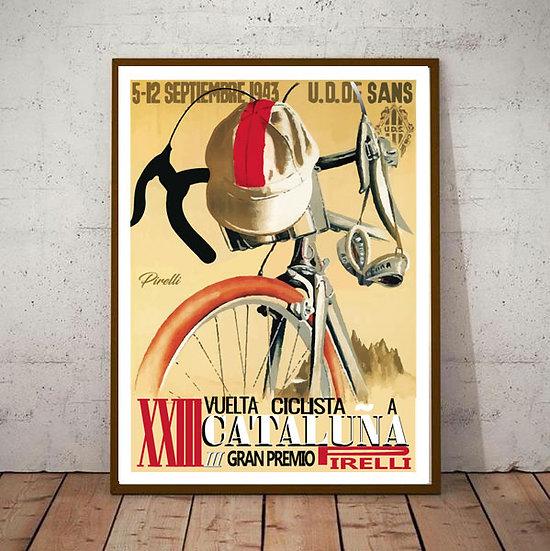 Art Deco Cataluna Gran Premio Pirelli 1943 Cycling Poster