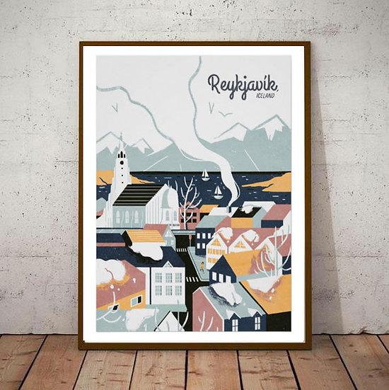 Art Deco Reykjavik Iceland Travel Poster