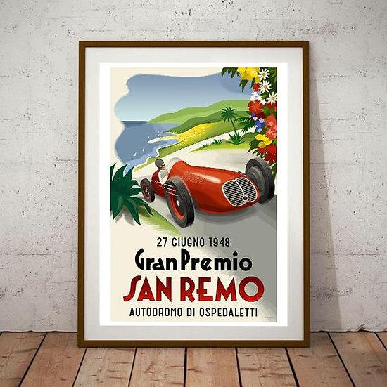 Art Deco San Remo Gran Premio 1948 Poster