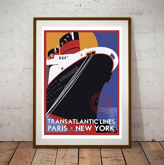 Art Deco Transatlantic Lines - Paris - New York Poster