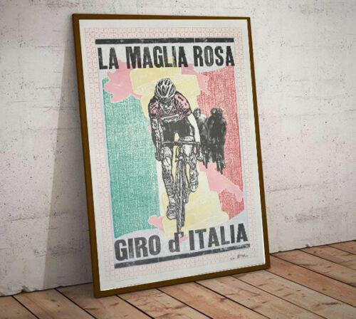 Art Deco La Maglia Rosa Giro d'Italia Cycling Poster