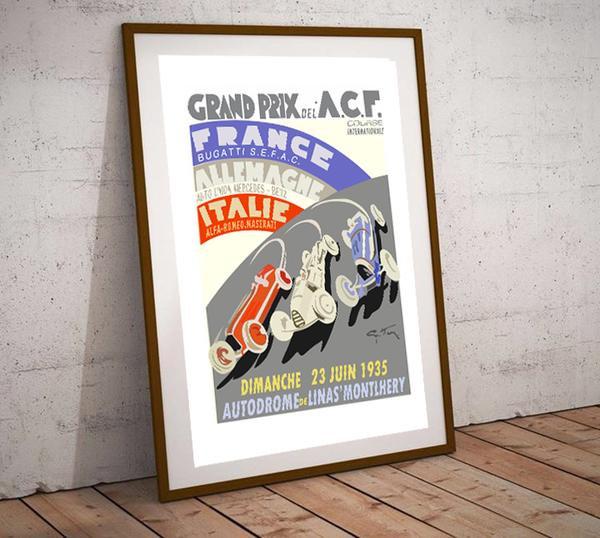 Art Deco Grand Prix of France A.C.F 1935 Poster