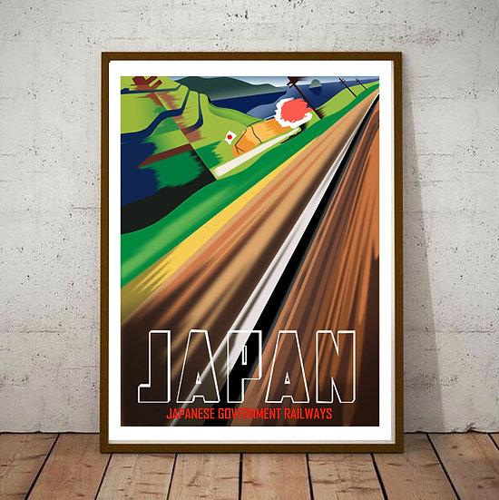 Art Deco Japanese Government Railways Tourism Poster