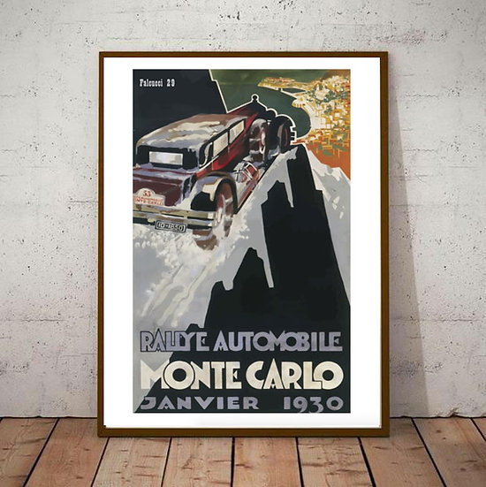 Art Deco Poster Montecarlo Rallye 1930 Falcucci