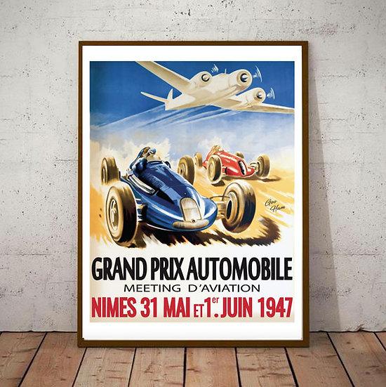 Art Deco Nimes 1947 Grand Prix Poster