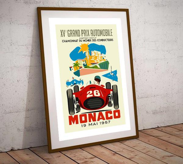 Art Deco Monaco Grand Prix 1957 Poster