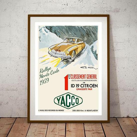 Art Deco Rallye Montecarlo 1959 Citroen DS 19 Poster