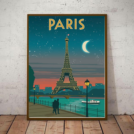 Art Deco Paris Eifell Tower River Side  Travel Poster