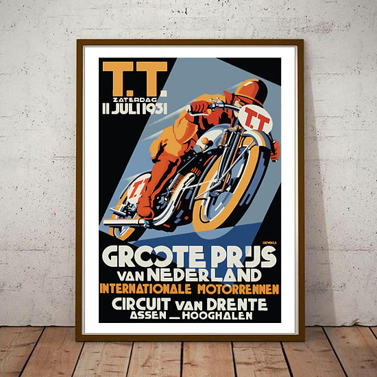 Art Deco Poster TT Grand Prix Nederland 1931 Holland