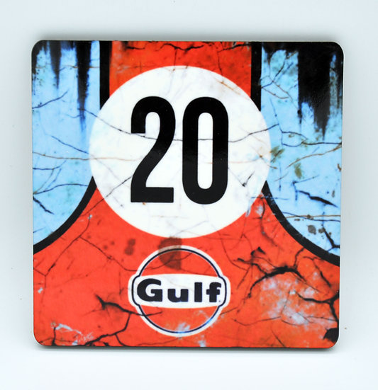 Porsche Gulf 20 Oil, Mud and Racing Coaster - Cork Backed