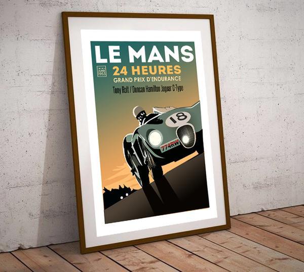 Art Deco Le Mans 24 Heures 1955 Jaguar C Type Poster