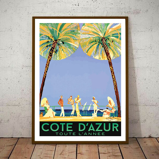 Art Deco Cote D'Azur France Tourism Poster