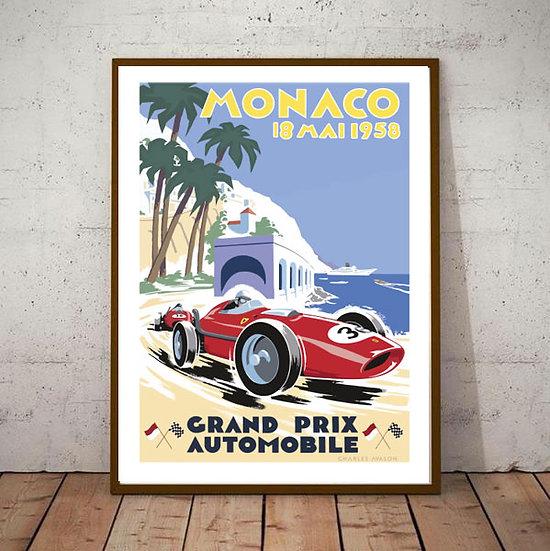 Art Deco Monaco 1958 Grand Prix Poster