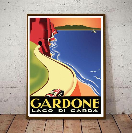 Art Deco Lake Garda Gardone with Car Travel Poster
