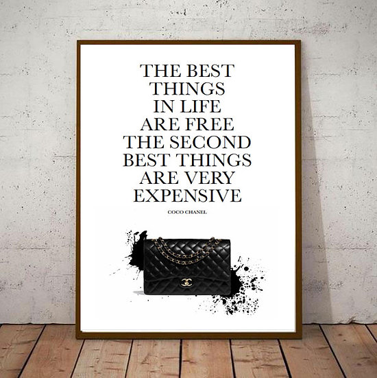 Inspiration Motivational Art - 'Coco Chanel' Best Things in Life Are Free