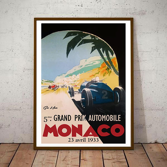 Art Deco Monaco 1933 Grand Prix Poster