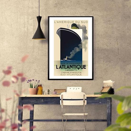 Art Deco L'Atlantique l'Amerique Du Sud Ship Poster
