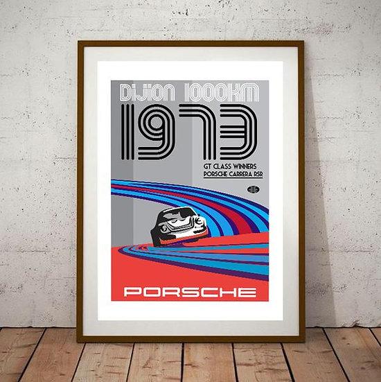 Art Deco Dijon 1000KM Porsche RSR Carrera Poster
