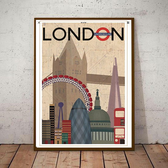 Art Deco London Cityscene  Poster